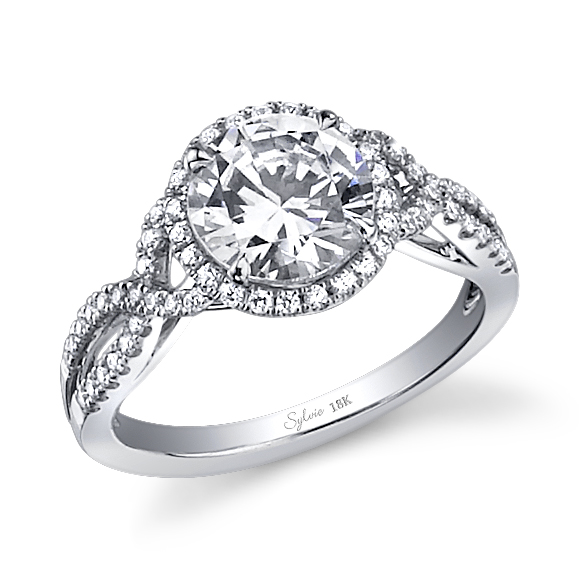 Crisscross Shank Diamond Engagement Ring L SY260